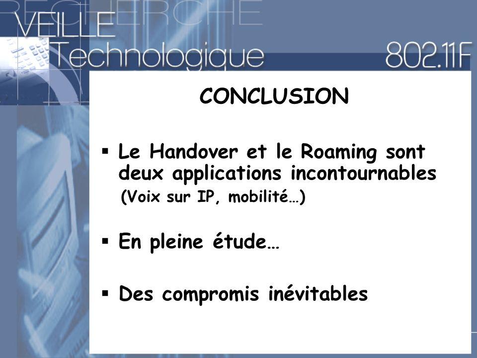 CONCLUSION Le Handover et le Roaming sont deux applications incontournables. (Voix sur IP, mobilité…)