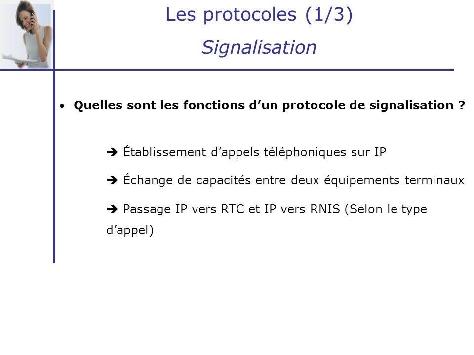 Les protocoles (1/3) Signalisation