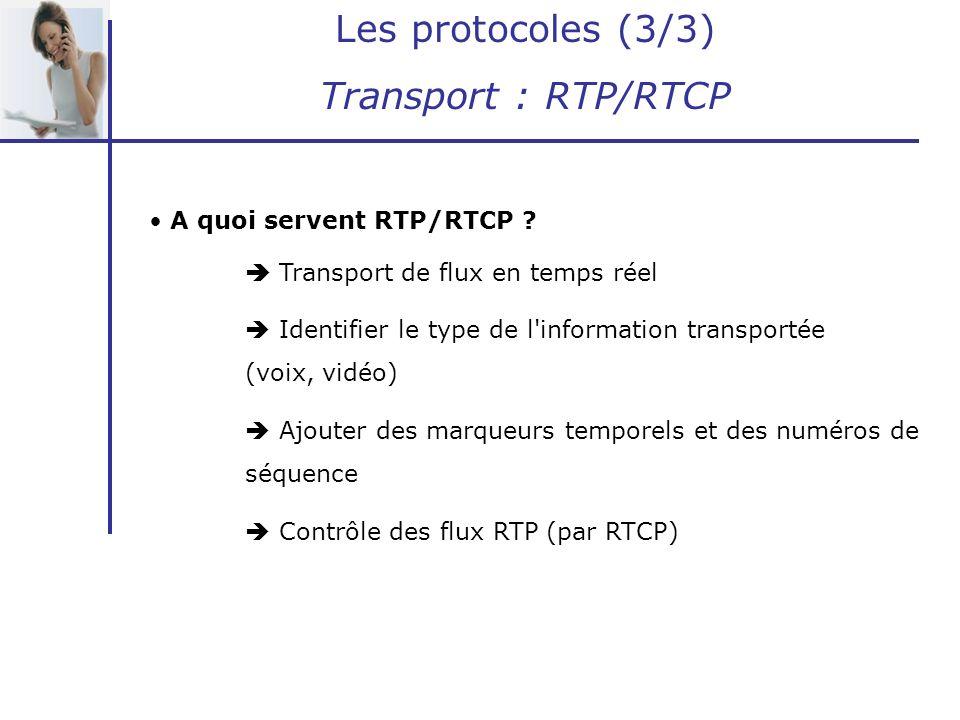 Les protocoles (3/3) Transport : RTP/RTCP A quoi servent RTP/RTCP