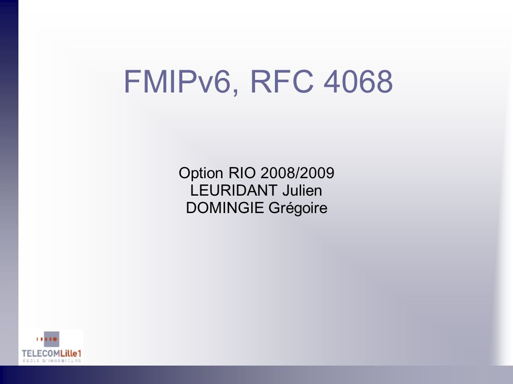 FMIPv6, RFC 4068 Option RIO 2008/2009 LEURIDANT Julien