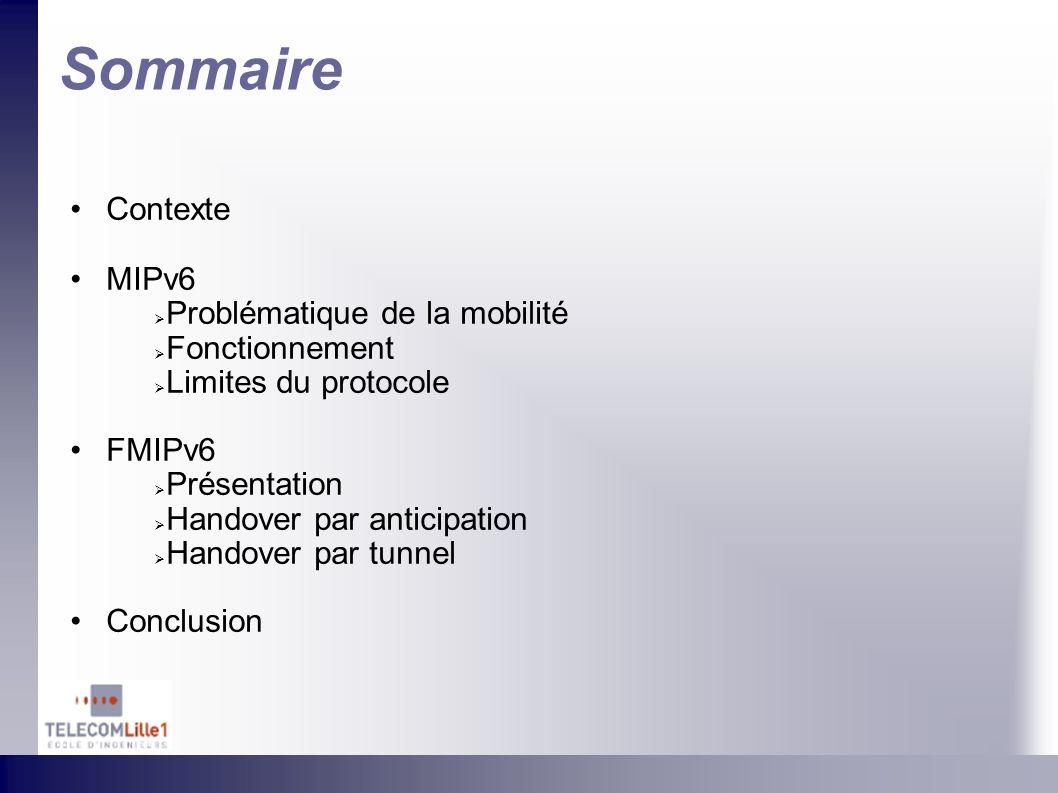 Sommaire Contexte MIPv6 Problématique de la mobilité Fonctionnement