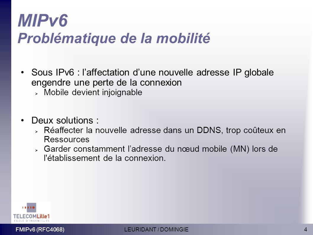 MIPv6 Problématique de la mobilité