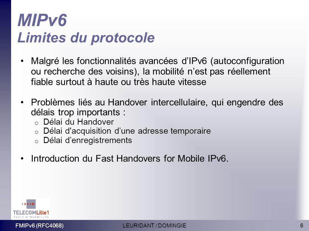 MIPv6 Limites du protocole