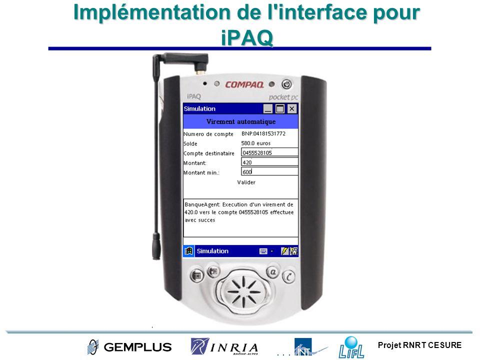 Implémentation de l interface pour iPAQ
