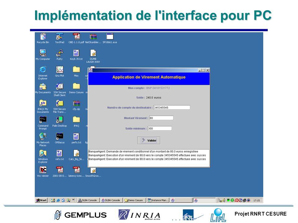 Implémentation de l interface pour PC