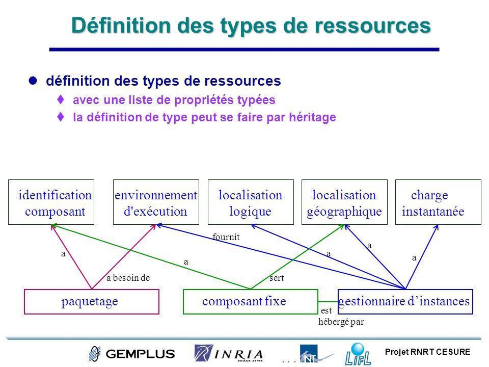 Définition des types de ressources