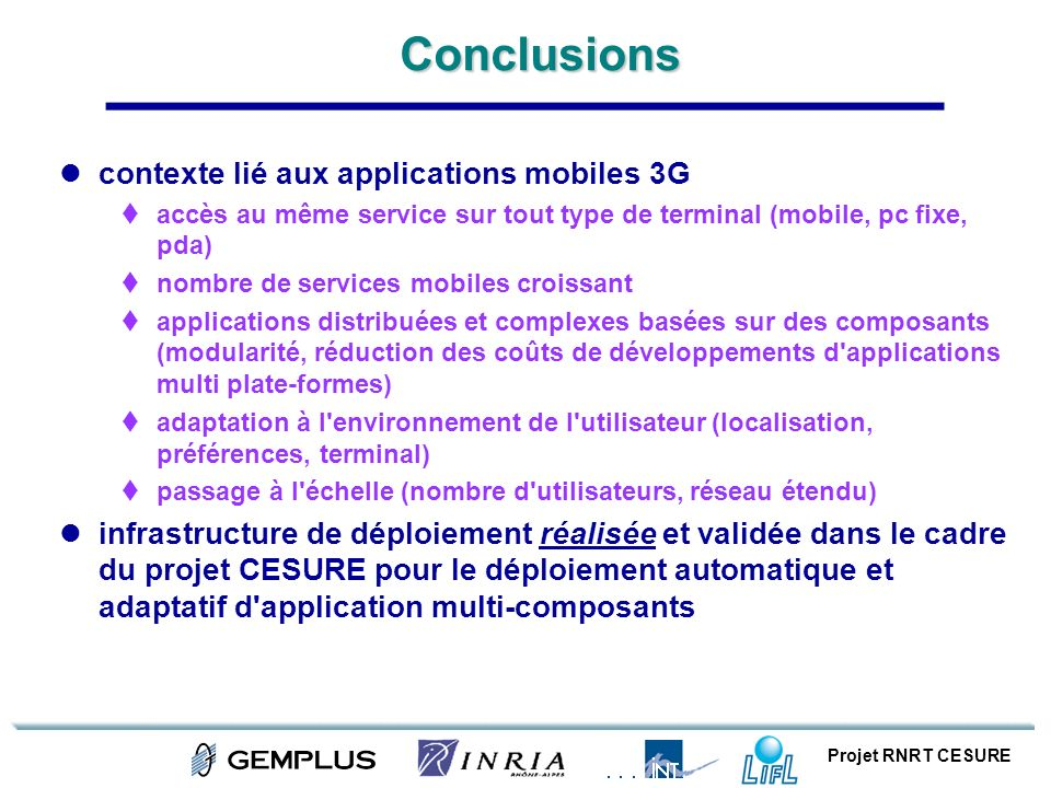 Conclusions contexte lié aux applications mobiles 3G