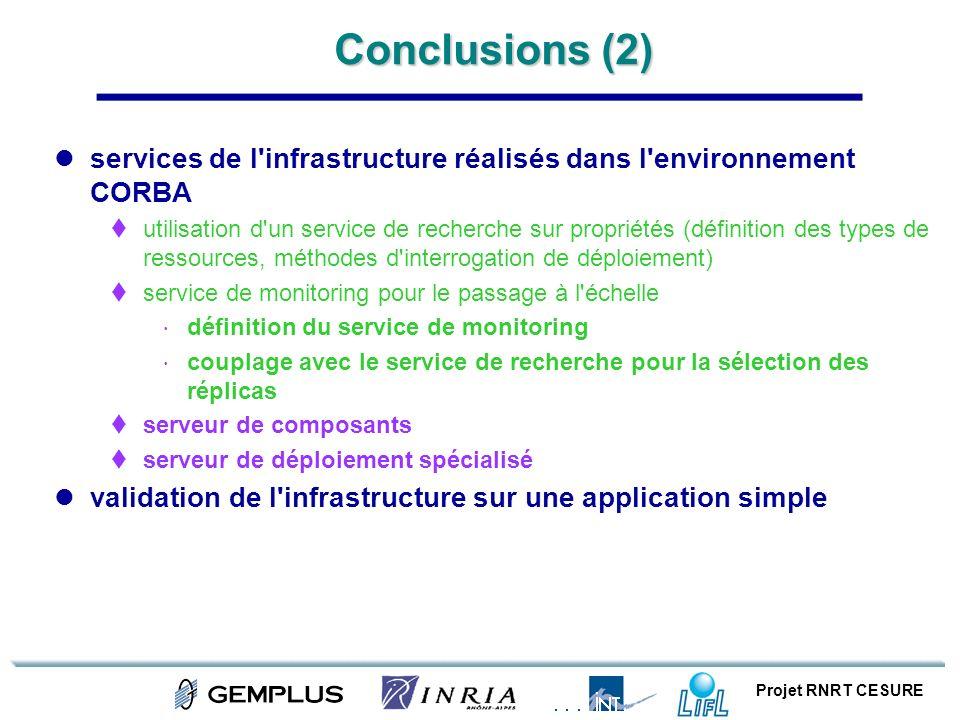 Conclusions (2) services de l infrastructure réalisés dans l environnement CORBA.