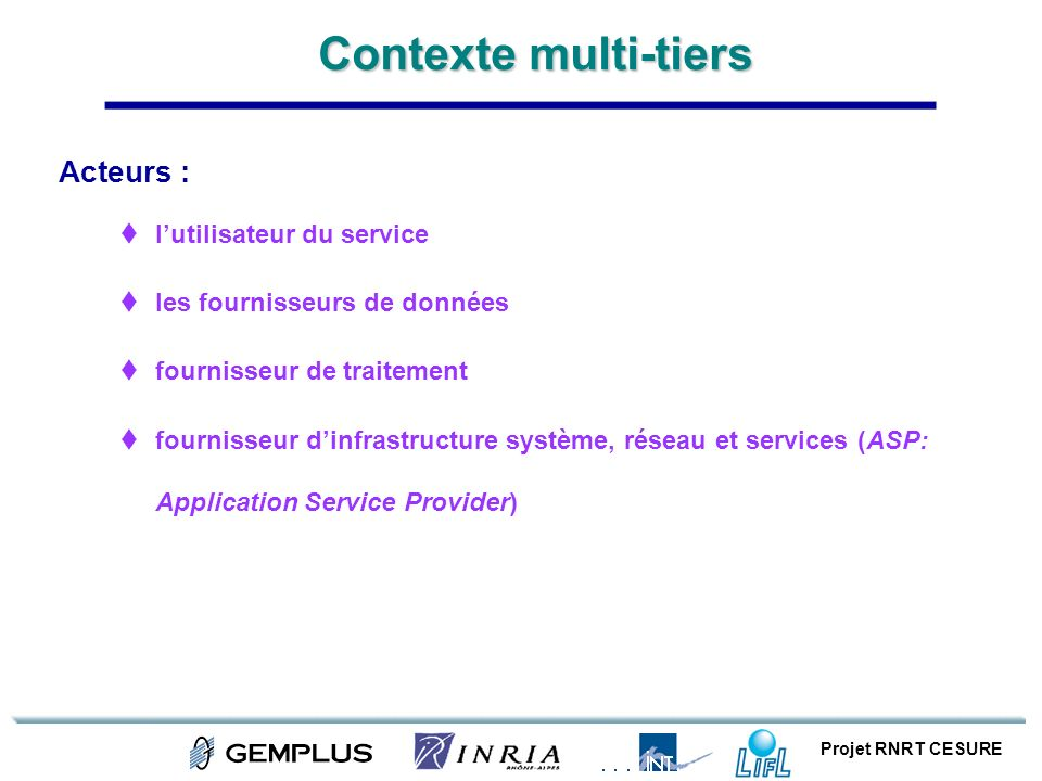 Contexte multi-tiers Acteurs : l'utilisateur du service