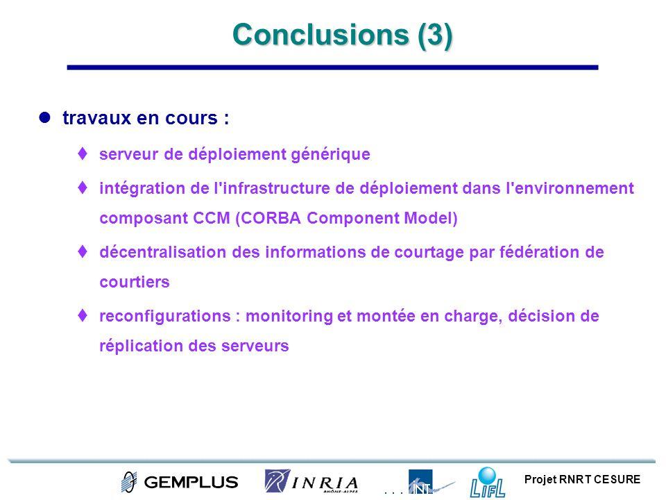 Conclusions (3) travaux en cours : serveur de déploiement générique