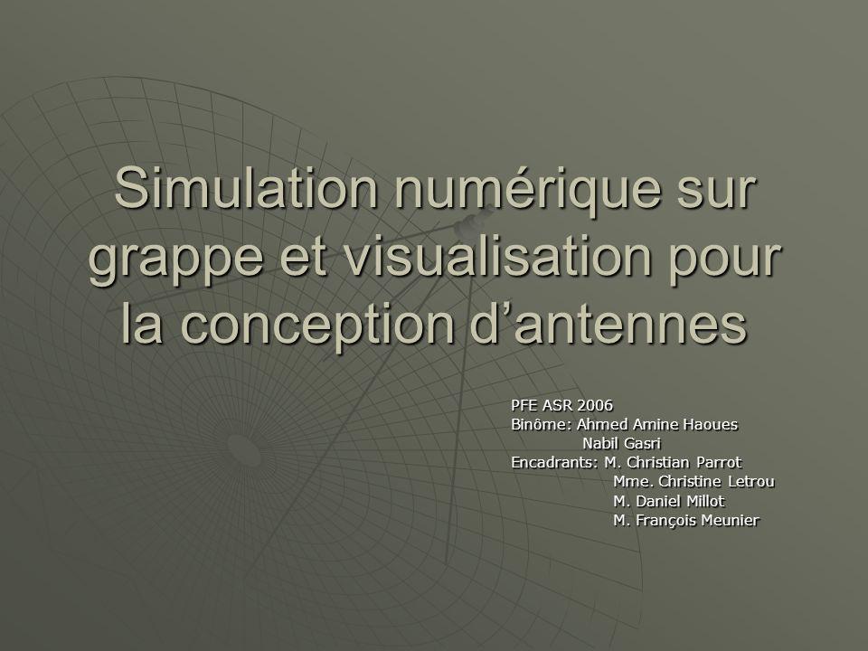 Simulation numérique sur grappe et visualisation pour la conception d'antennes