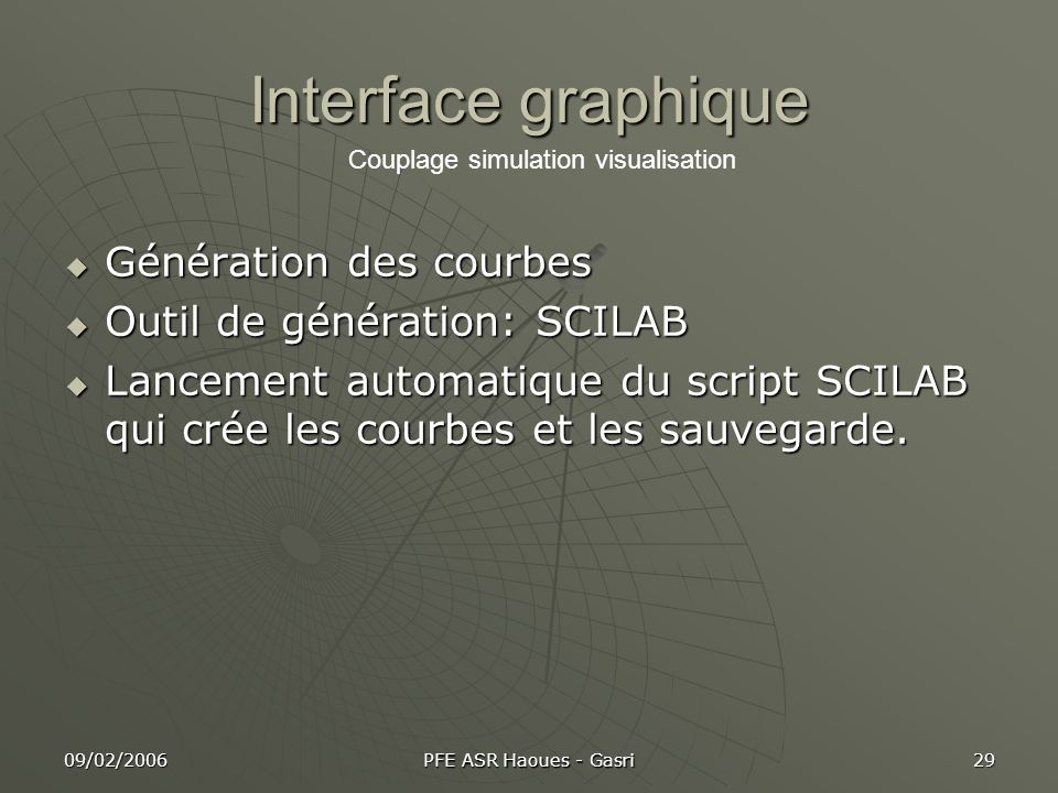 Interface graphique Génération des courbes Outil de génération: SCILAB