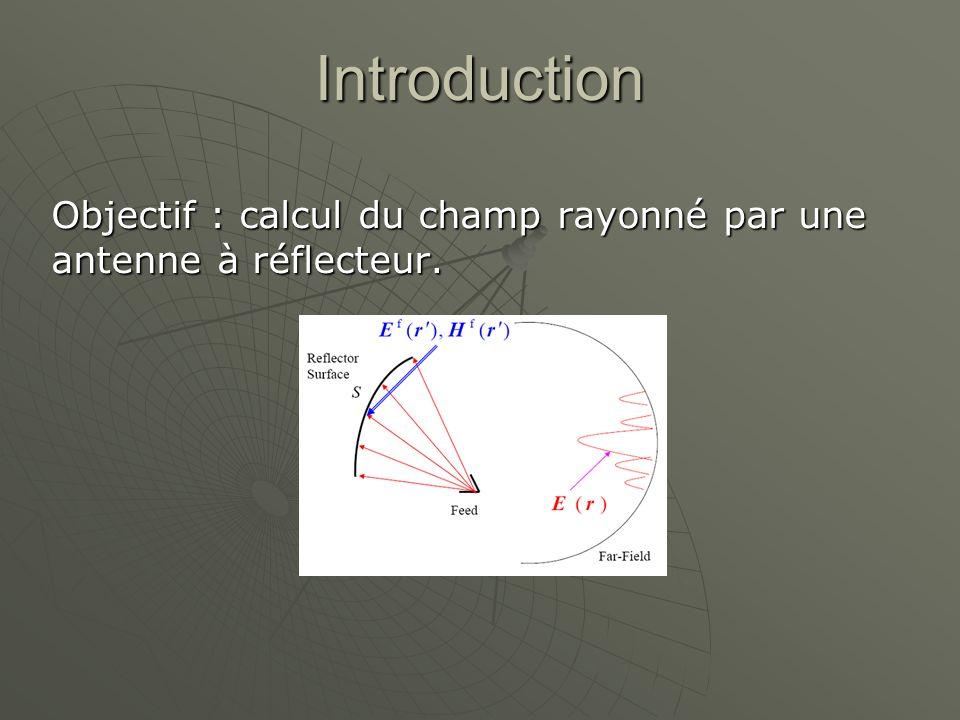 Objectif : calcul du champ rayonné par une antenne à réflecteur.