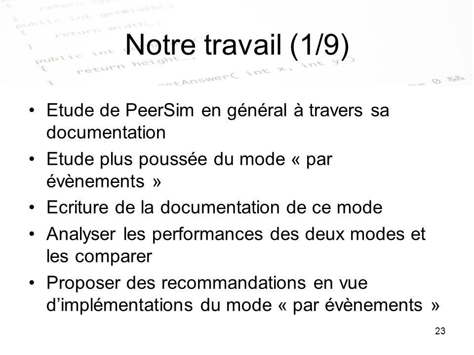 Notre travail (1/9) Etude de PeerSim en général à travers sa documentation. Etude plus poussée du mode « par évènements »