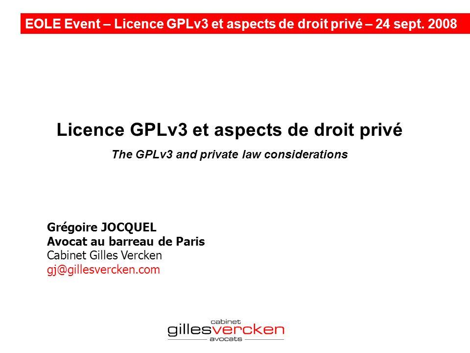 Licence GPLv3 et aspects de droit privé