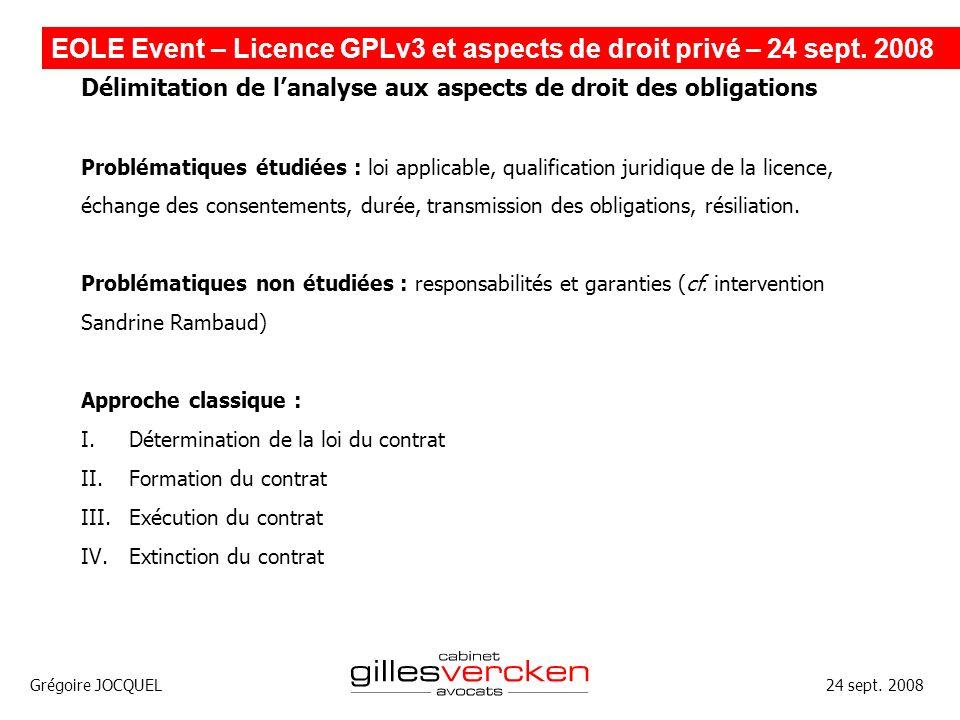 EOLE Event – Licence GPLv3 et aspects de droit privé – 24 sept. 2008