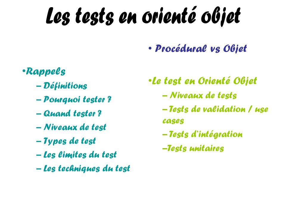 Les tests en orienté objet