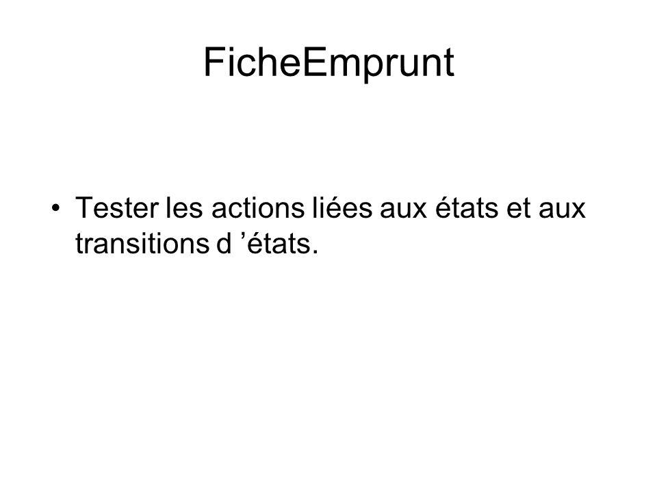FicheEmprunt Tester les actions liées aux états et aux transitions d 'états.