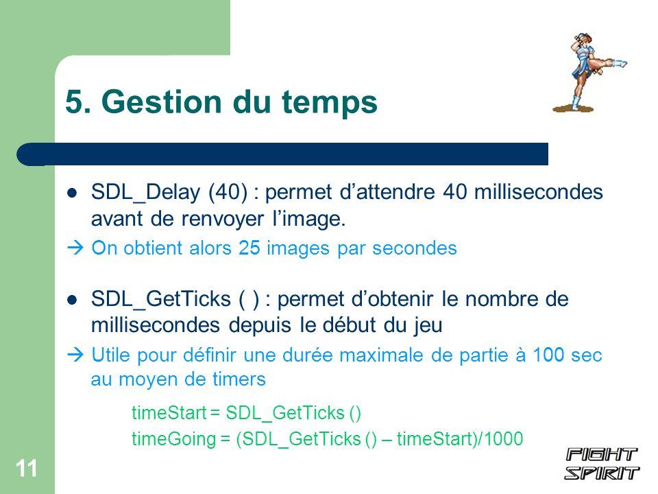 5. Gestion du tempsSDL_Delay (40) : permet d'attendre 40 millisecondes avant de renvoyer l'image.  On obtient alors 25 images par secondes.