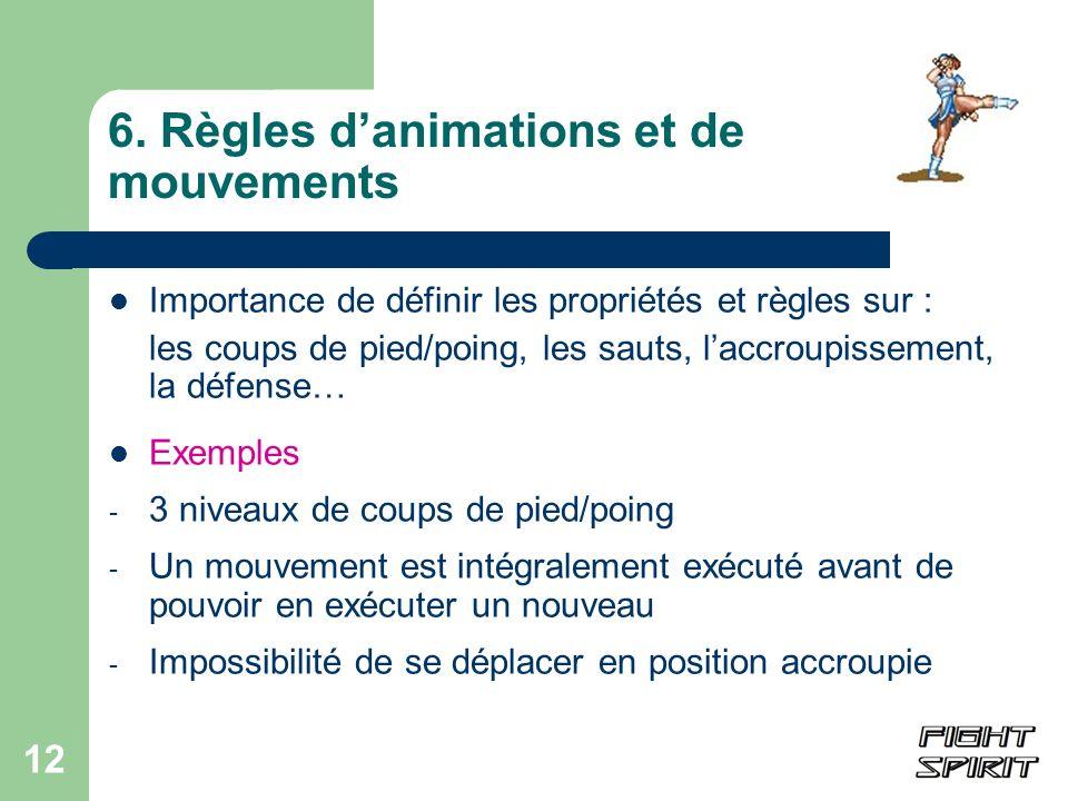 6. Règles d'animations et de mouvements