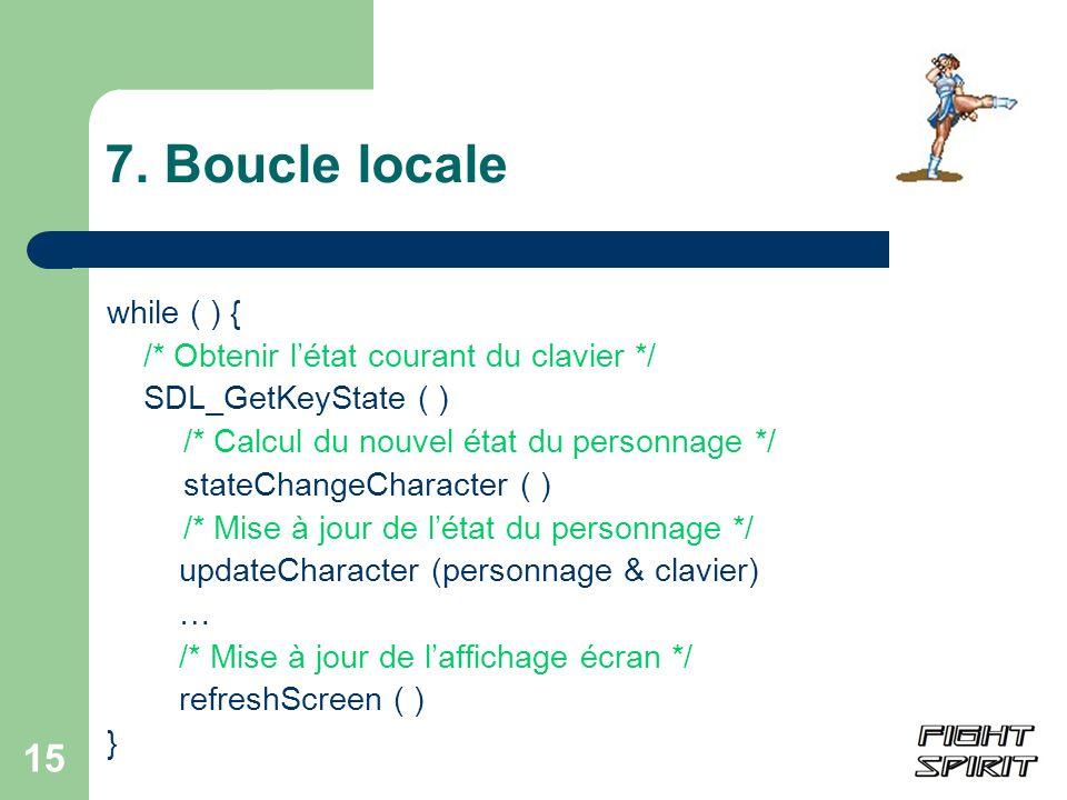 7. Boucle locale while ( ) { /* Obtenir l'état courant du clavier */