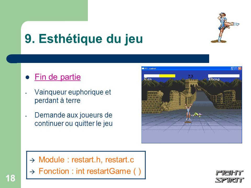 9. Esthétique du jeu Fin de partie Module : restart.h, restart.c
