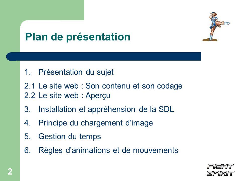 Plan de présentation 1. Présentation du sujet