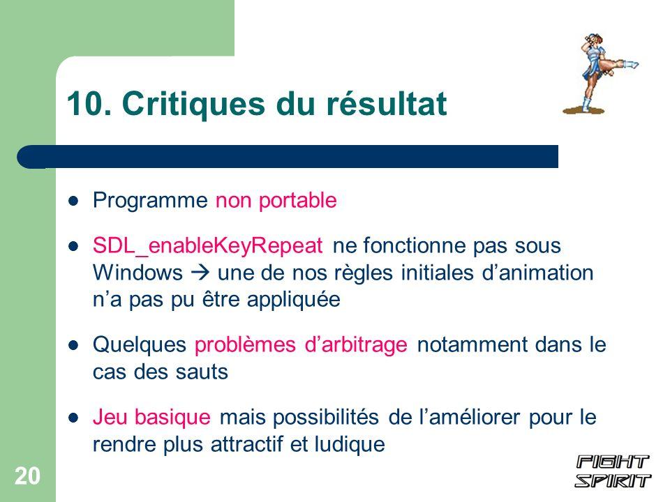 10. Critiques du résultat Programme non portable