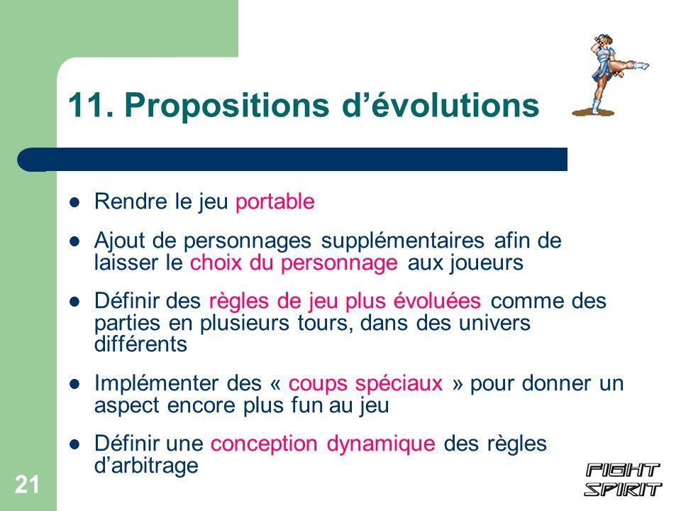 11. Propositions d'évolutions