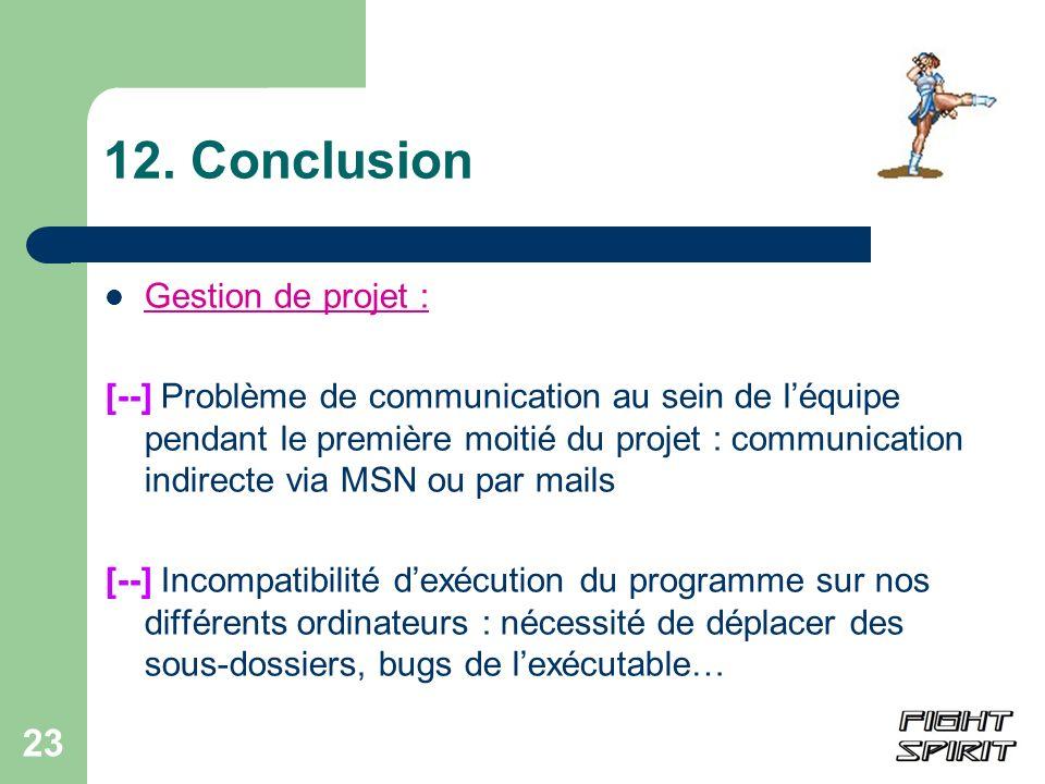 12. Conclusion Gestion de projet :