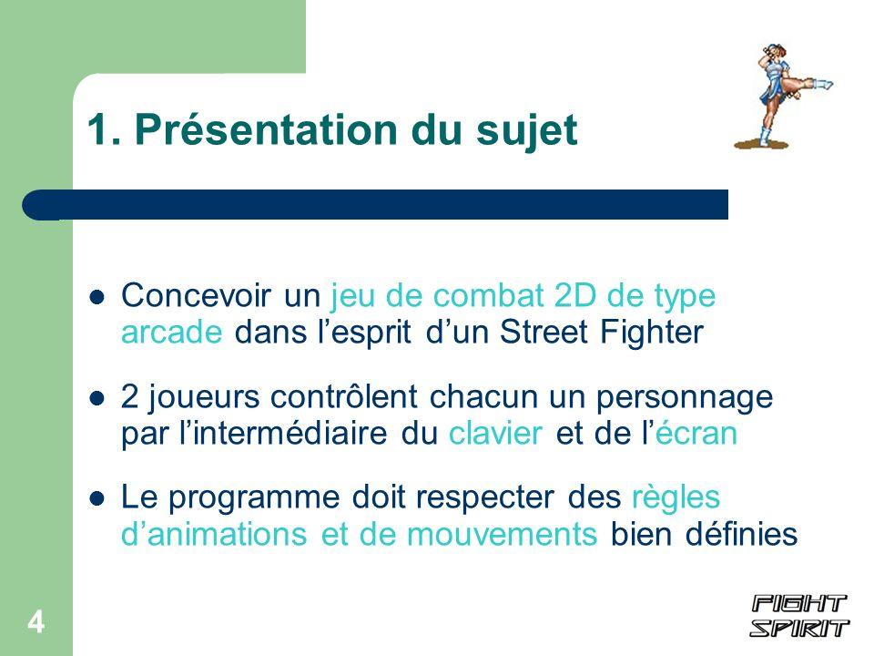 1. Présentation du sujetConcevoir un jeu de combat 2D de type arcade dans l'esprit d'un Street Fighter.