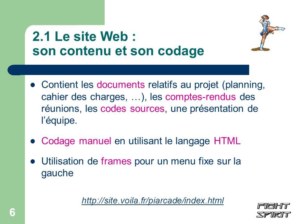 2.1 Le site Web : son contenu et son codage