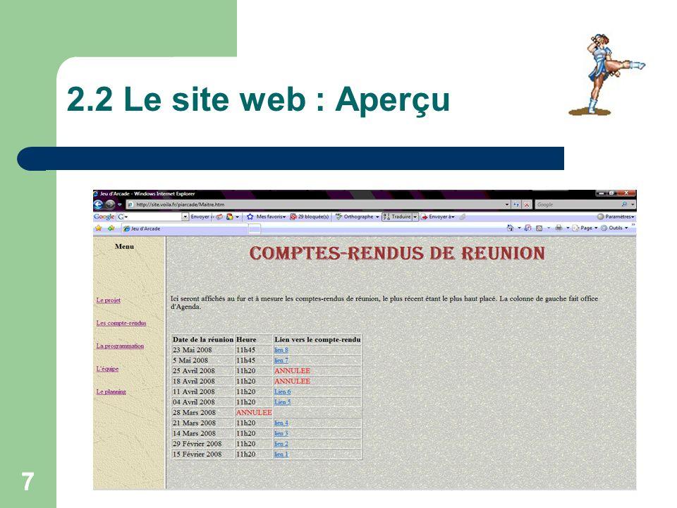 2.2 Le site web : Aperçu 7