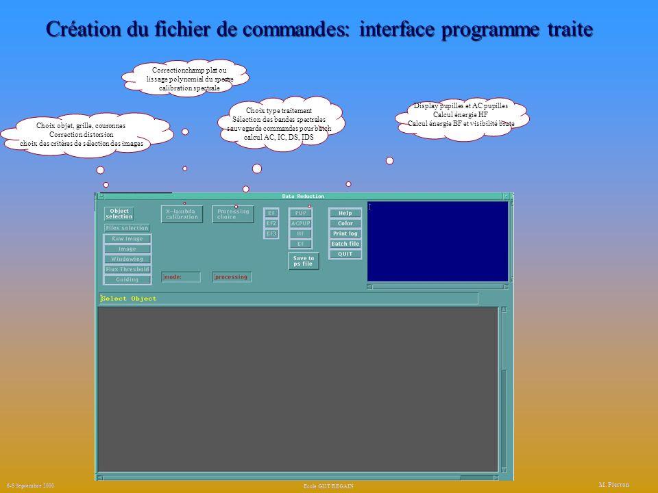 Création du fichier de commandes: interface programme traite