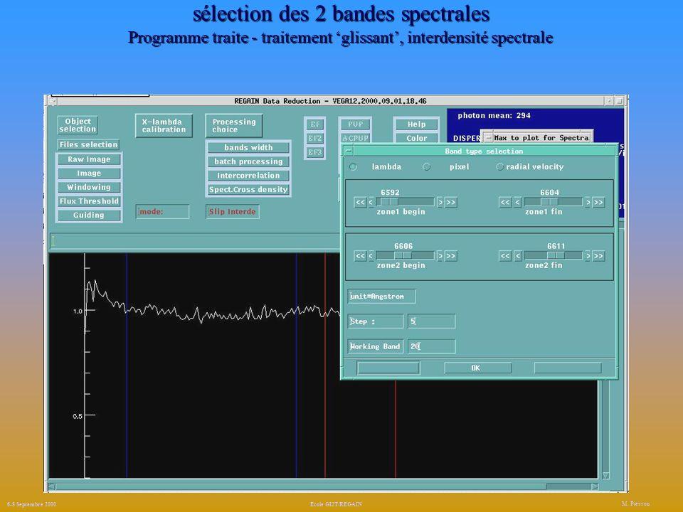 sélection des 2 bandes spectrales Programme traite - traitement 'glissant', interdensité spectrale