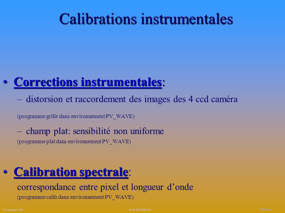 Calibrations instrumentales