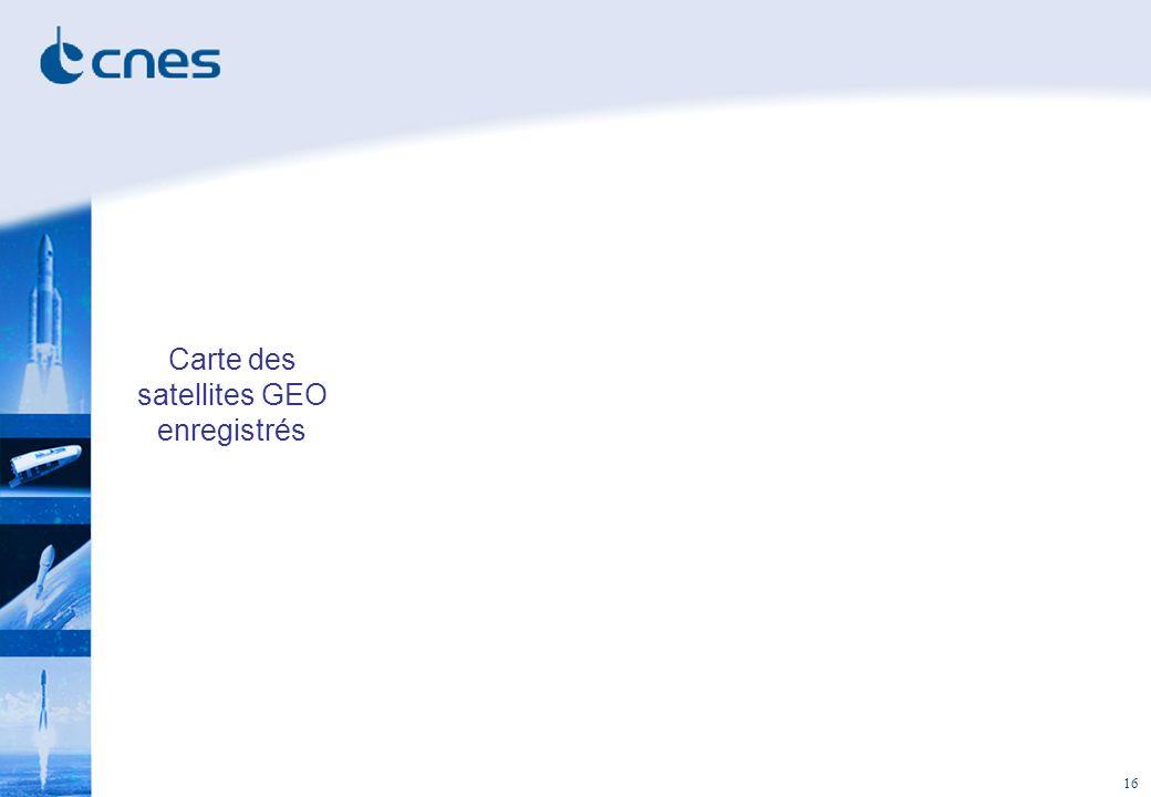 Carte des satellites GEO enregistrés