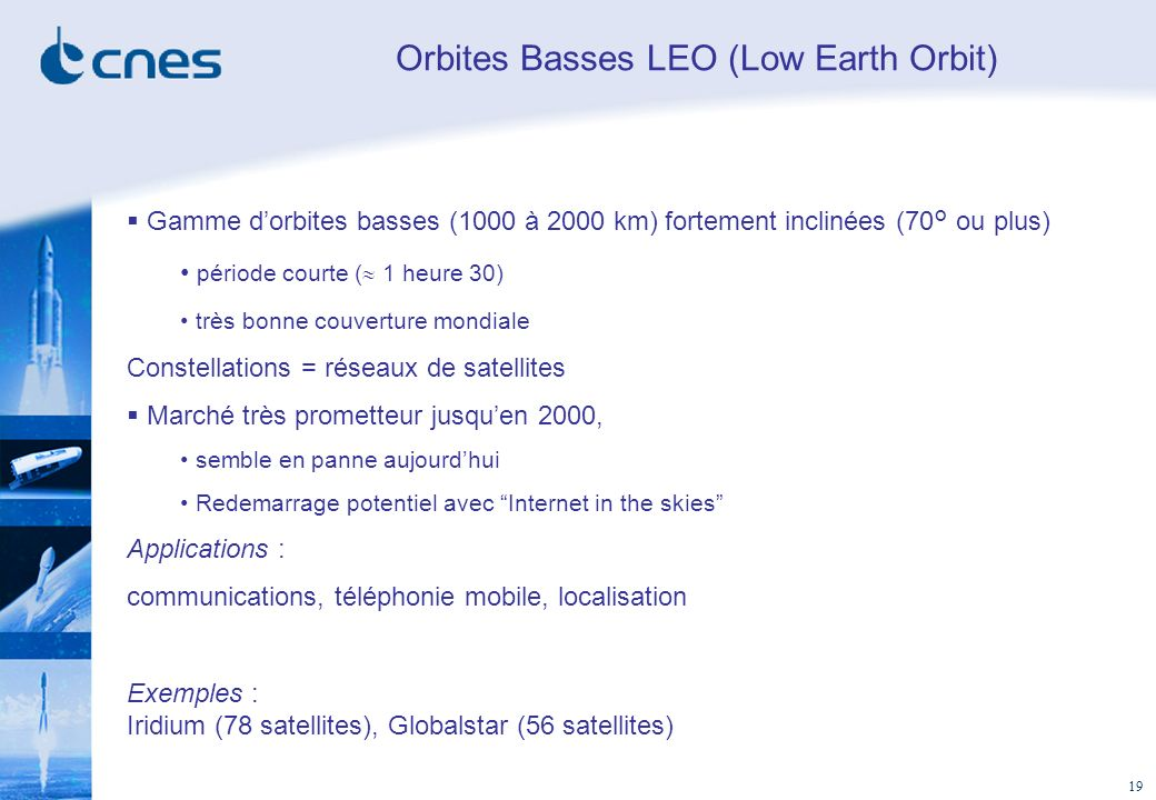 Orbites Basses LEO (Low Earth Orbit)