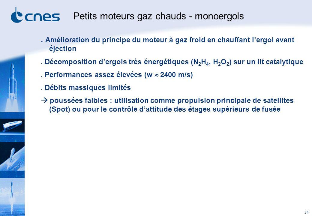 Petits moteurs gaz chauds - monoergols