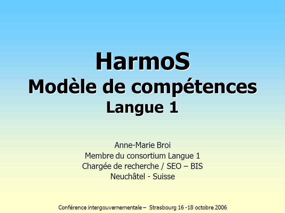 HarmoS Modèle de compétences Langue 1