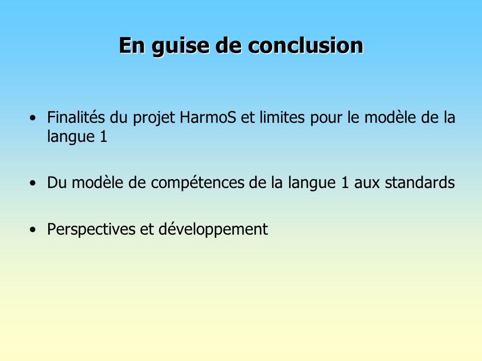 En guise de conclusionFinalités du projet HarmoS et limites pour le modèle de la langue 1. Du modèle de compétences de la langue 1 aux standards.