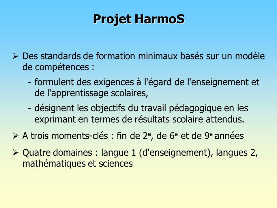 Projet HarmoSDes standards de formation minimaux basés sur un modèle de compétences :