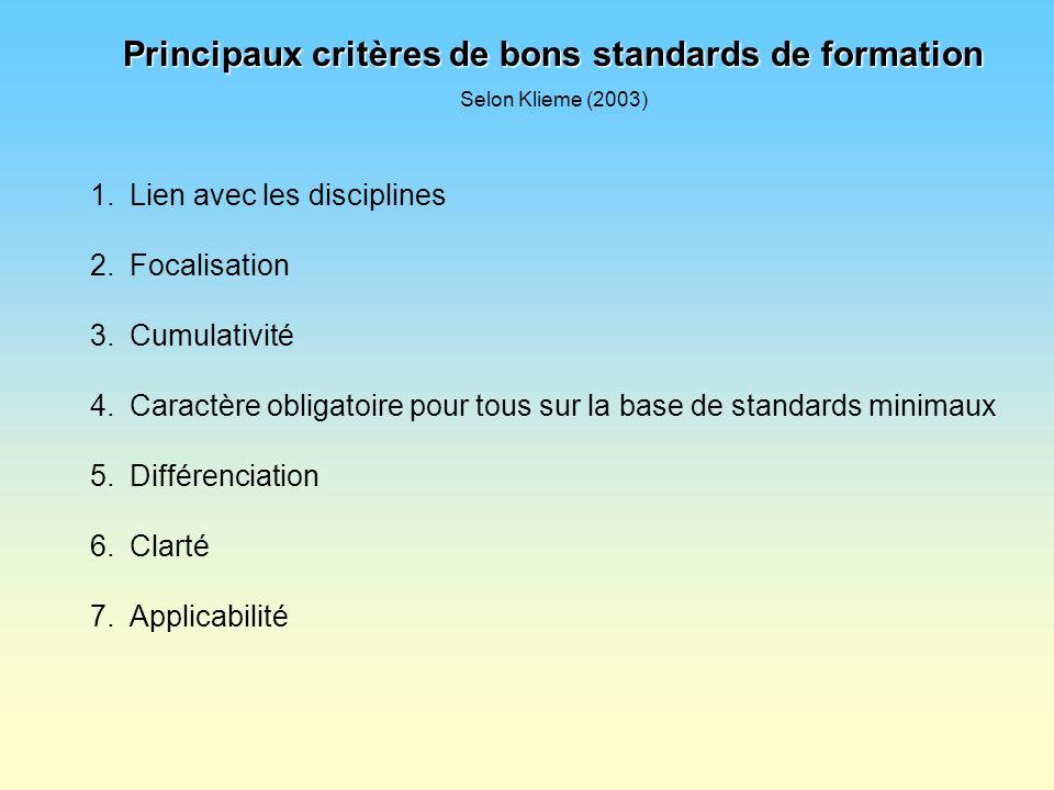 Principaux critères de bons standards de formation