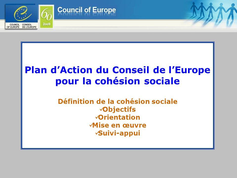 Plan d'Action du Conseil de l'Europe pour la cohésion sociale