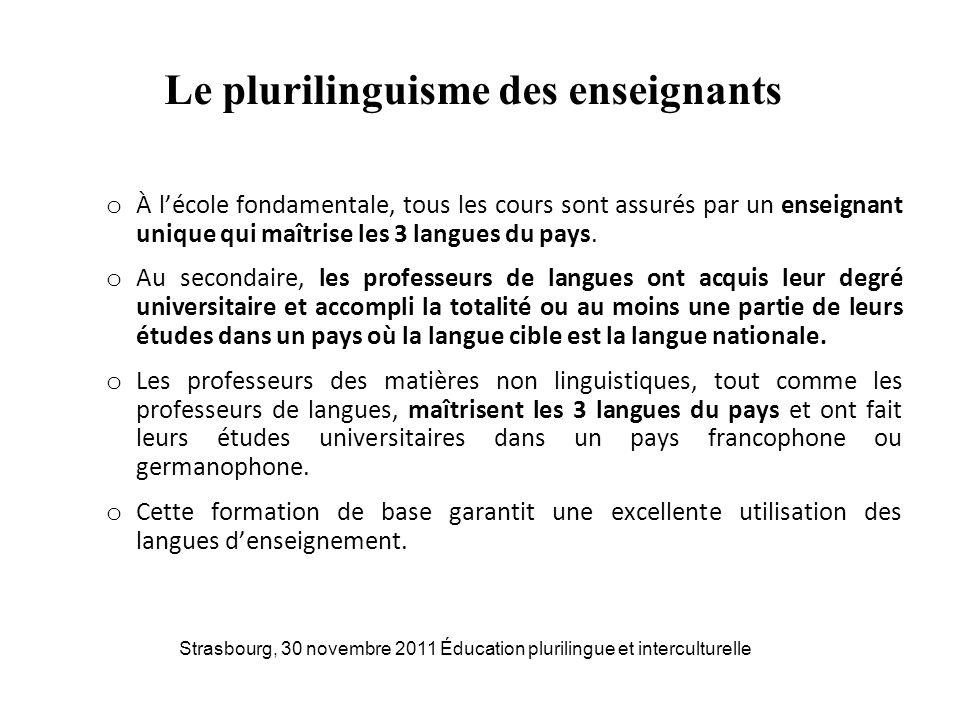Le plurilinguisme des enseignants