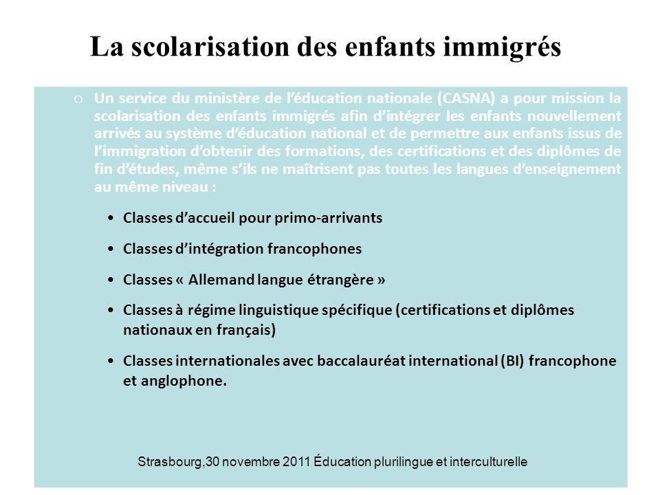 La scolarisation des enfants immigrés