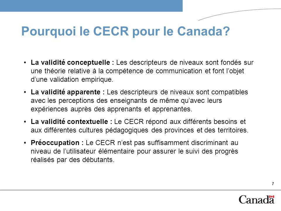 Pourquoi le CECR pour le Canada