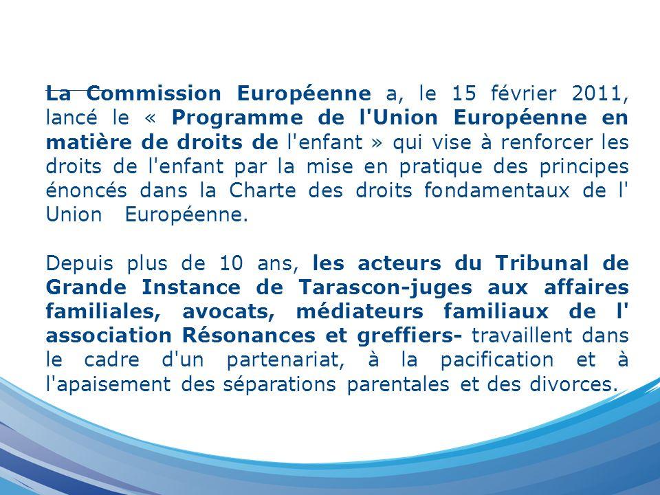 La Commission Européenne a, le 15 février 2011, lancé le « Programme de l Union Européenne en matière de droits de l enfant » qui vise à renforcer les droits de l enfant par la mise en pratique des principes énoncés dans la Charte des droits fondamentaux de l Union Européenne.