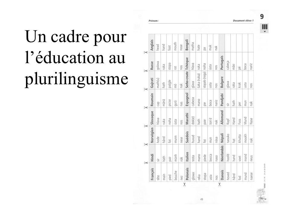 Un cadre pour l'éducation au plurilinguisme