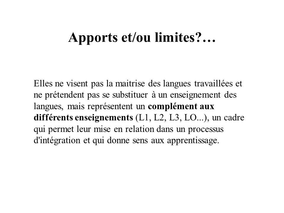 Apports et/ou limites …